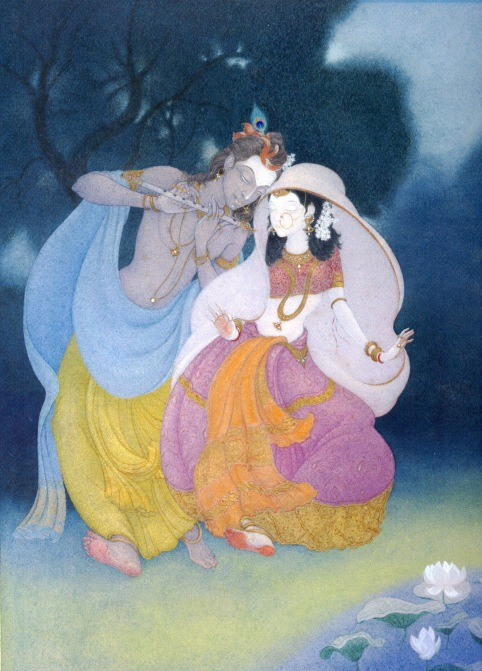 Krishna and Radha, watercolour by Frank wesley 1982. collection of Stephen Fearnley